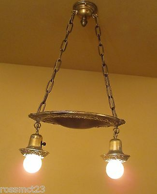 Vintage Lighting matched pair 1920s pan pendants new wiring 2