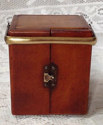 Antique, Unusual Travel, Carriage Clock In Mahogany Casing, Doors To Front 2