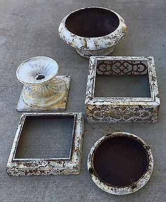 Old Vtg Antique Cast Iron Ornate White Chippy Paint Garden Cemetary Planter Urn 6