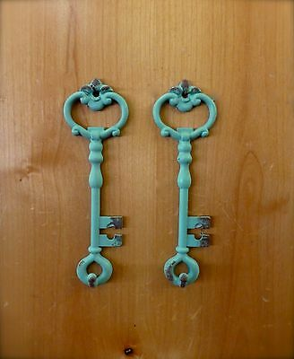 "2 BLUE ANTIQUE-STYLE METAL SKELETON KEY WALL HOOKS 6.5"" jewelry vintage shabby"