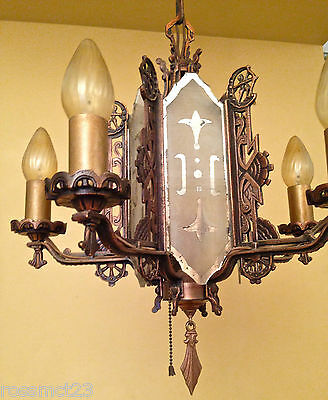 Vintage Lighting incredible 1930s coppery mirrored chandelier 5
