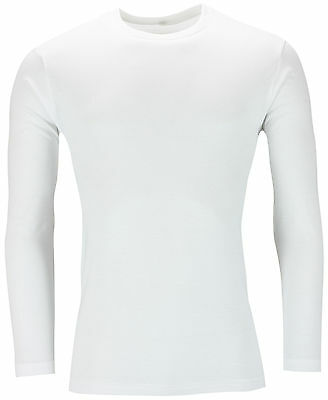 New Mens Long Sleeve T Shirt Muscle Top 100% Cotton Tee Plain Crew Neck Casual 3