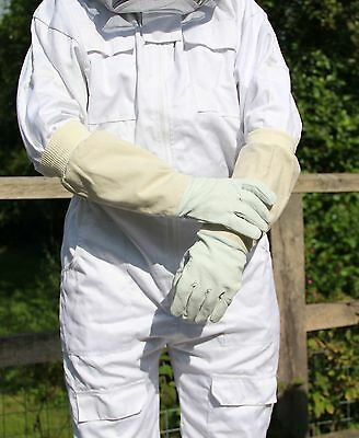 Beekeepers Bee Gloves - Soft White Goats Leather with Cotton Gauntlets All Sizes 4