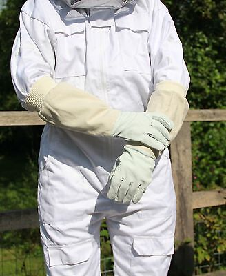 Beekeeping Bee Gloves - Soft White Goats Leather with Cotton Gauntlets All Sizes 4
