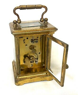 Antique 8 day Miniature Brass Carriage Clock Timepiece with Travelling Box Case 6