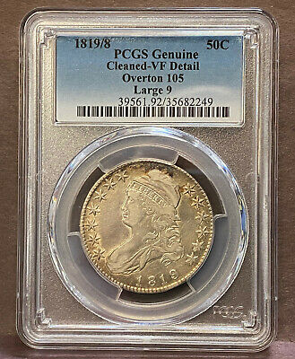 1819/8 50¢ Bust Half Large 9 PCGS VF Detail Cleaned Overton 105 2