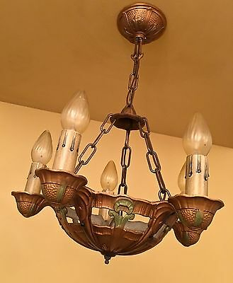 Vintage Lighting TWO 1930s chandeliers THREE sconces by Lincoln 3