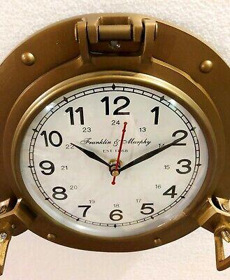 Antique Marine Brass Ship Porthole Clock 22.86 cm Nautical Wall Clock Home Decor 4