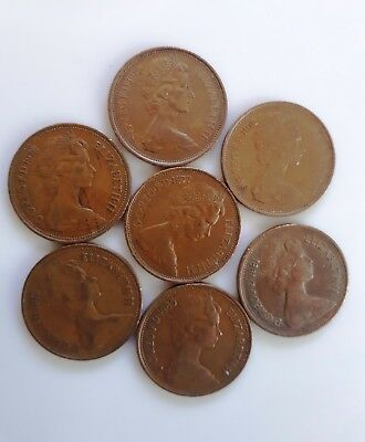 Old 7 Coins New Penny 1981-1975 Great Britain 2