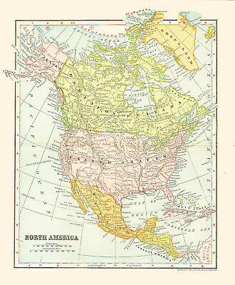 Color Map Of North America.1903 Color Map Of North America The Us British Canada Mexico