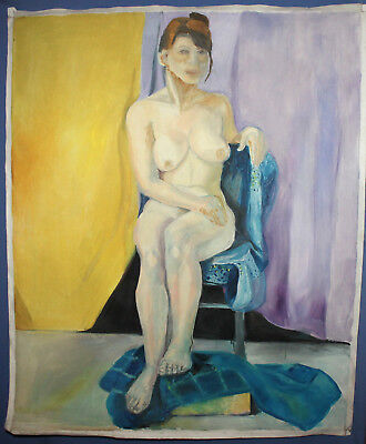 Large Expressionist nude woman portrait vintage oil painting 2