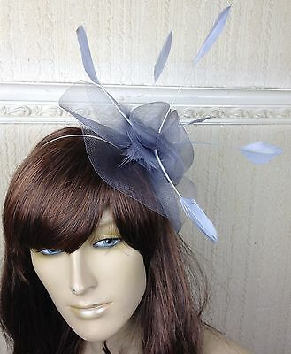 grey netting feather hair headband fascinator millinery wedding hat ascot race 3