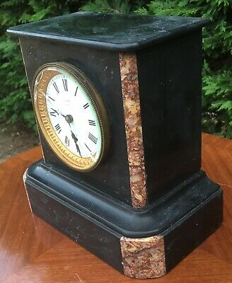 antique Marble Slate Mantel Mantle Clock French Paris Love 4