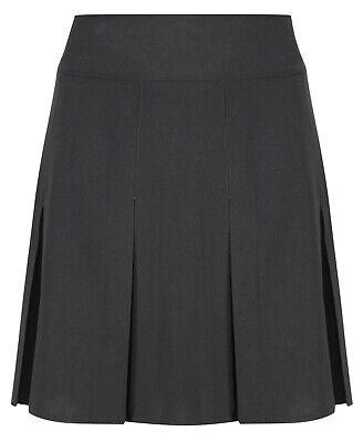 Girls Pleated School Skirt Navy Grey Black Long Short Regular Length 16 18 20 22 2
