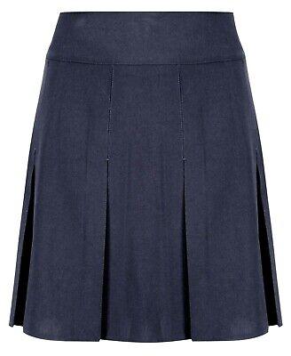 Girls Pleated School Skirt Navy Grey Black Long Short Regular Length 16 18 20 22 3