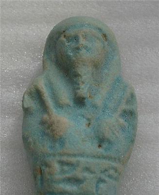 Egypt 662 Bc Xxvi Dynasty Funeral Death Ushabti  Faience  Mummy Blue Color 3