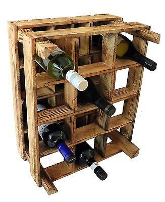 4x Scaffale Porta Bottiglie Portabottiglie Vino Legno Cassa Vintage