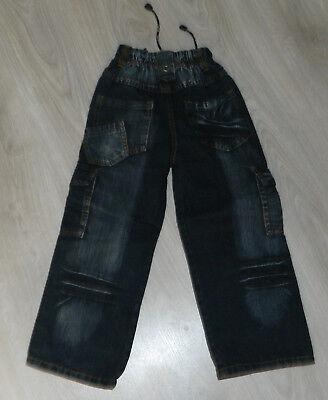 Jeans Pantalon Noir Delave Taille Elastique Multipoches 8 Ans  Neuf 4