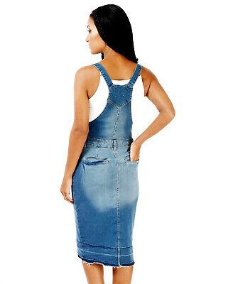 Damen A Line Denim Bandage Rock Lätzchen Kleid Jeans Pinafore Latzhose Strapse