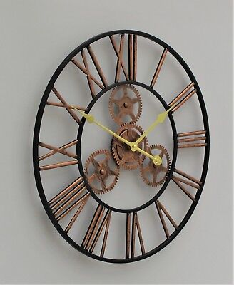 Large Metal Skeleton Wall Clock Antique gold Home Decor Round 58cm Indoor & Out 11