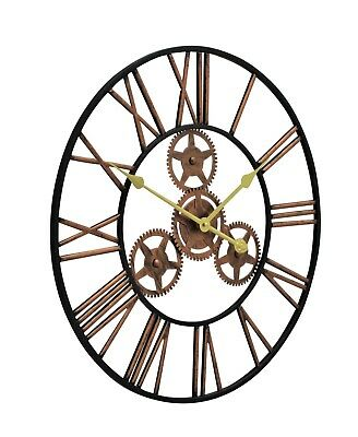Large Metal Skeleton Wall Clock Antique gold Home Decor Round 58cm Indoor & Out 2