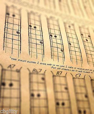 Chord Poster For Cigar Box Guitars 3 String Open G Gdg 1250