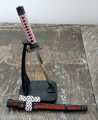 "8"" JAPANESE SAMURAI SABRE SWORD LETTER OPENER KNIFE w/ Desk Stand NEW Burgundy 8"
