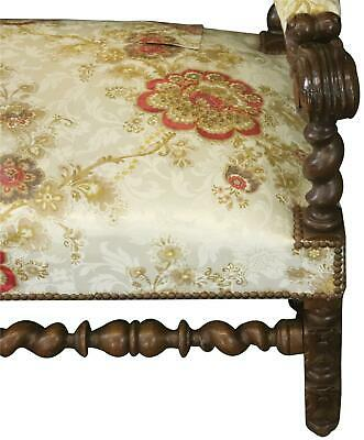 Settee Renaissance Hunting French Antique 1880 Carved Oak  Floral Uph 8