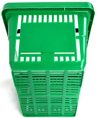 2 Handle Green Plastic Shopping Basket Retail Supermarket Use Hand Carry 3