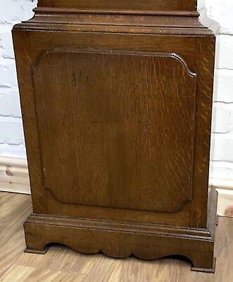 ~ Antique Brass Dial OAK Grandfather Longcase Clock GOLDSMITHS REGENT ST LONDON 4
