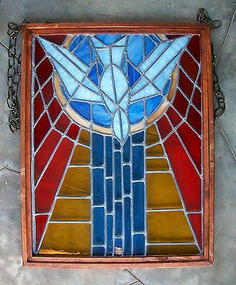 Vintage Church Stained Glass Window Salvage Bird Leaded HOLY SPIRIT DOVE Peace 5
