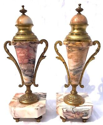 French Antique Pink Orange Rouge Marble Bracket / Mantel Clock Garniture Set 6