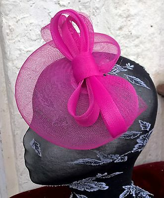 bright pink fascinator millinery burlesque wedding hat ascot race bridal party 1 3