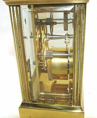 MAPPIN & WEBB Brass Carriage Mantel Clock Timepiece with Key  Working Order (61) 11