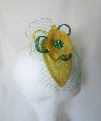 Canary Daffodil Yellow & Emerald Green Fascinator Headpiece Wedding Ascot Races 7