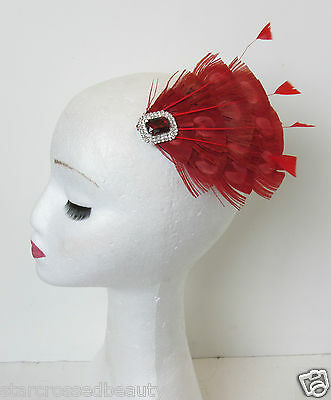 Red Peacock Feather Vintage Fascinator 1920s 1940s Races Hair Clip Art Deco P62 7