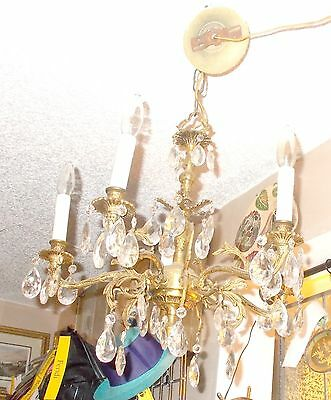 Antique Brass 5 Arm Crystal Prism Chandelier from Bay Area Architectural Salvage 3