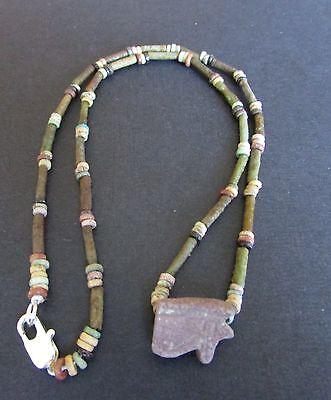 NILE  Ancient Egyptian Eye of Horus Amulet Mummy Bead Necklace ca 1000 BC 2
