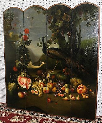 Antique Style French Four Panel Hand Painted Peacock Fruit Screen Divider 7