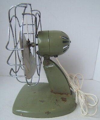 Vintage Superior Electric Green Metal Fan - Has Power- Loud Wobbles Parts Repair