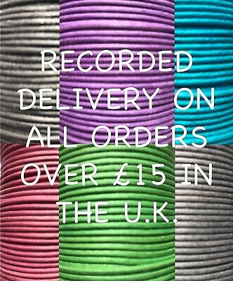 Waxed Cotton Thong Cord 2mm String Thread 16 Colours Jewellery Craft 2