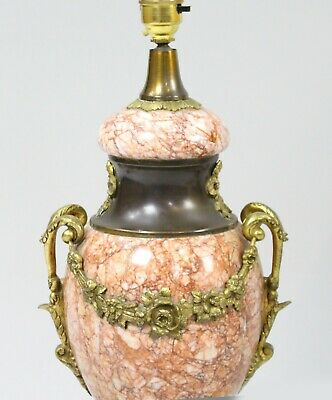 Pair of Antique French Rouge Marble & Ormolu Table Lamps with Silk Shades 6