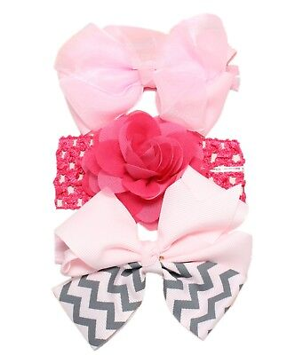 3pc Baby Girl Elastic Headbands 0/3/6/9/12/18/24 Months Pink Lilac Bow Flower 5