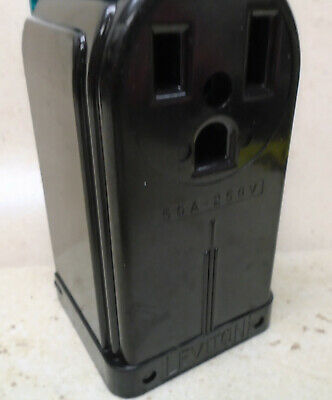 LEVITON 50A 250V Receptacle Surface Mount VTG Bakelite Electric Outlet ART DECO 4
