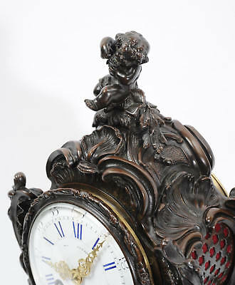 Japy Freres Antique French Bronze Rococo Table Clock Music Fully Working C1890 6