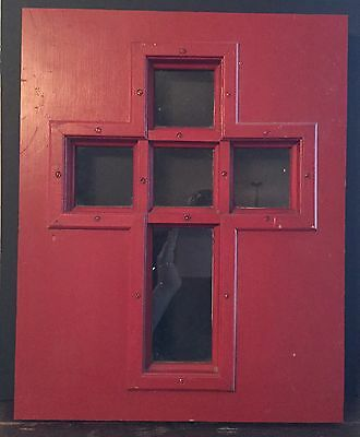 Old Vtg Wood Glass Architectural Cross Church Original Red Paint Door Insert 3