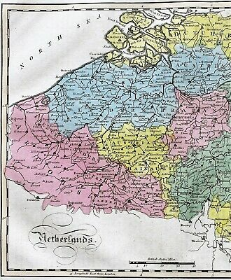 1815 Netherlands Map Austria Flanders Luxemburg Dutch Brabant EX- RARE ORIGINAL 2