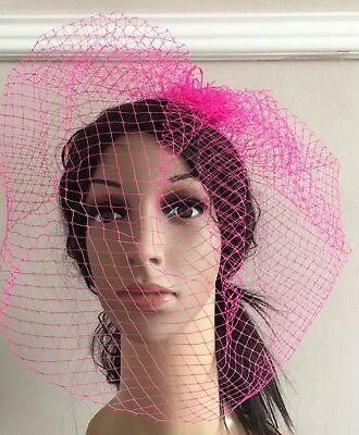 pink fascinator french veiling veil hair clip wedding widow funural hat race 2