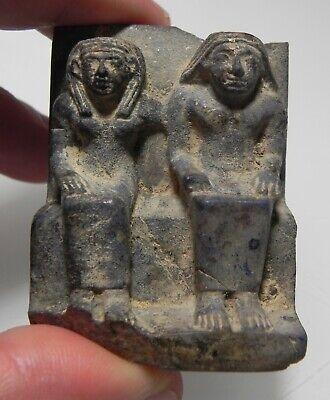 ZURQIEH -as12646- ANCIENT EGYPT, LAPIS LAZULI FIGURE OF A MAN & WIFE. 1400 B.C 6