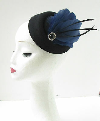 Black Navy Blue Feather Pillbox Hat Fascinator Vintage Races Headpiece 1920s 9AE 2